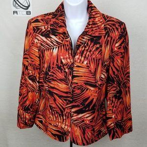 Maggy London Womens red black orange blazer Zip up